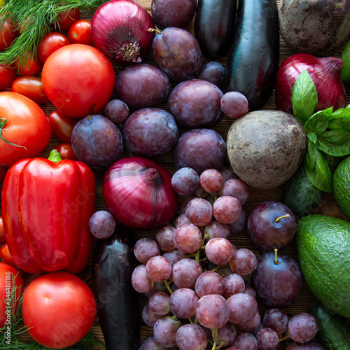 Colorful assortment of fruit and vegetables, healthy natural products Wallpaper Mural