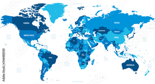 Foto World map - green hue colored on dark background