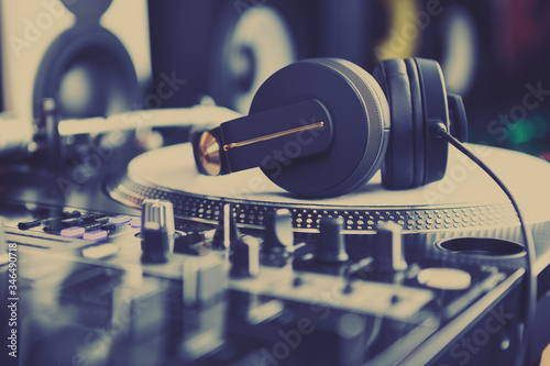 Professional dj sound equipment in music store Wallpaper Mural
