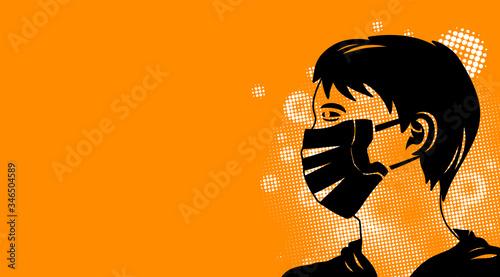 Person wearing virus mask looking ahead Canvas Print
