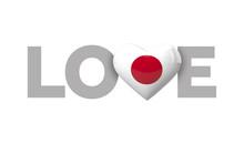 Love Japan Heart Shaped Flag W...