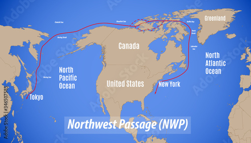 Schematic map of the Northwest Passage Fototapet