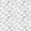 Coronavirus related seamless pattern with outline icons
