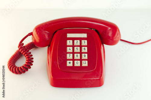 Photo teléfono, comunicaciones, aislada, decir, agiotaje, rojo, despacho, dial, blanco