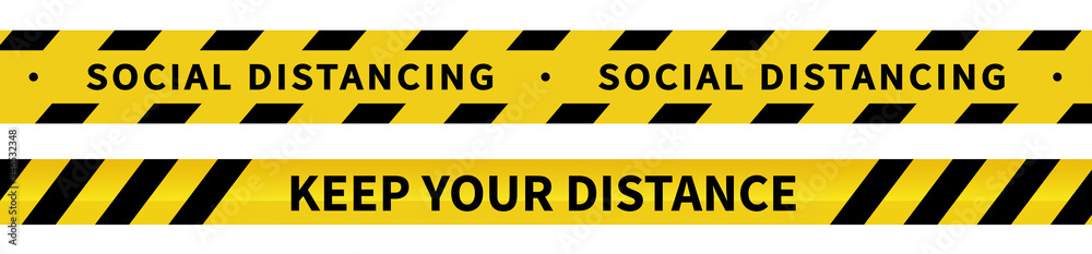 Fototapeta Social distancing tape. Warning Covid-19 tapes. Black and yellow line striped. Vector illustration