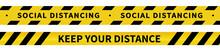 Social Distancing Tape. Warnin...