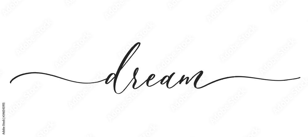 Fototapeta Dream -  typography lettering quote, brush calligraphy banner with  thin line.