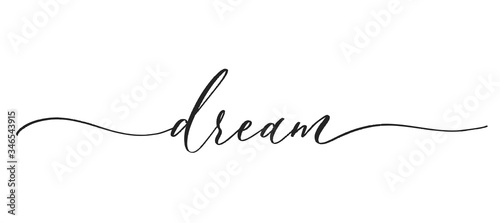 Dream -  typography lettering quote, brush calligraphy banner with  thin line Canvas Print