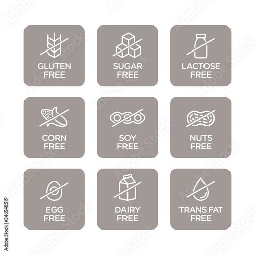 Photo Allergen free icons set. Vector illustration