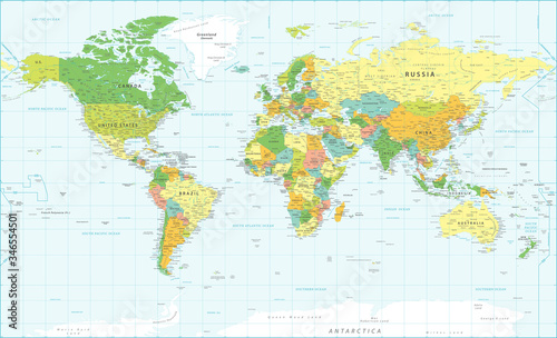 Photographie World Map Vintage Political - Vector Detailed Illustration - Layers