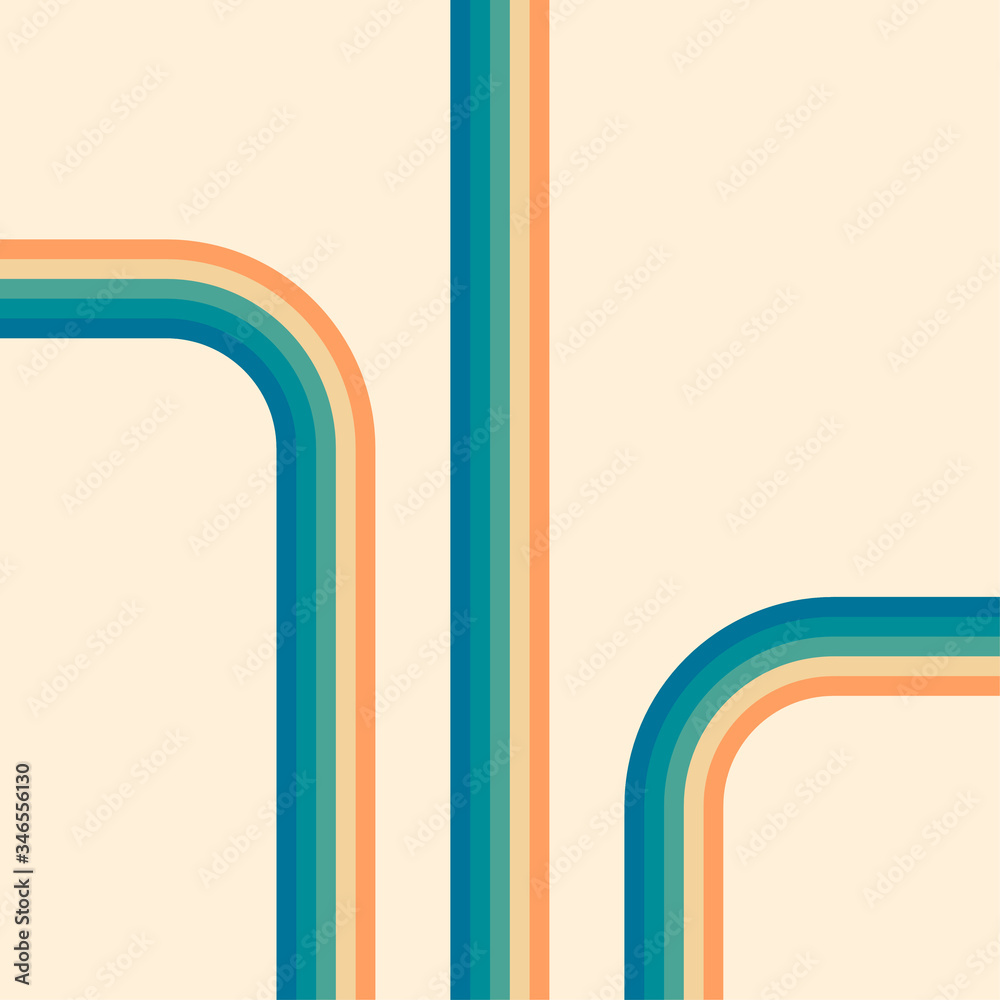Fototapeta 70s, 1970 abstract vector stock retro lines background. Vector illustration.