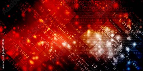 Obraz na plátně 2d illustration abstract digital binary data on computer screen