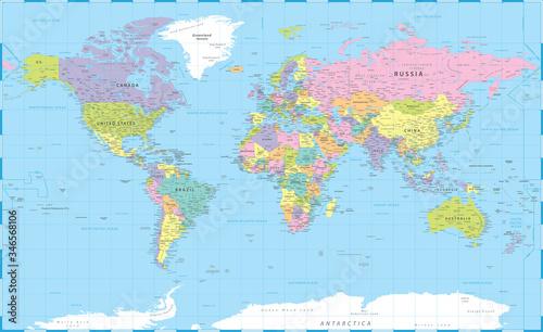 Obraz na plátně World Map Color Political - Vector Detailed Illustration - Layers