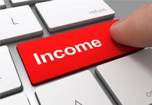 Income Push Button Concept 3d Illustration
