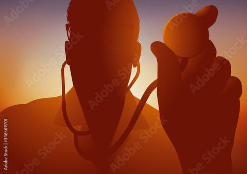 Concept de la lutte du dépistage des maladies pulmonaires et cardiovasculaire, avec un médecin pneumologue qui ausculte un patient avec un stéthoscope Canvas Print
