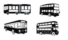 Set Of Public Bus Silhouettes....