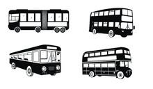 Set Of Public Bus Silhouettes. City Bus Outline Vector Illustrations.