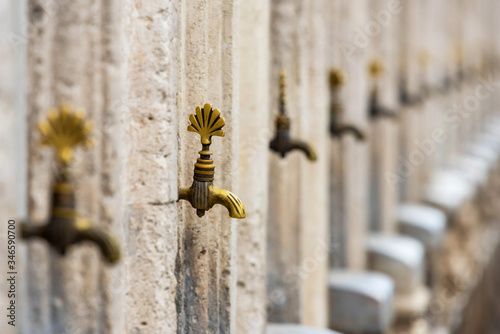 Ablution water tap in a mosque in Istanbul, Turkey Canvas Print