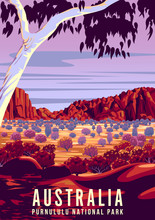 Rock Formations In The Australian Purnululu National Park At Sunset. Handmade Drawing Vector Illustration. Retro Style Poster.