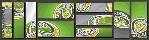 Vector set of Baseball Banners, vertical and horizontal decorative art templates for baseball events with illustration of sport field and flying on curve trajectory baseball ball on grey background Wallpaper Mural