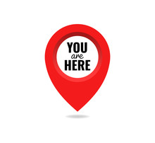 You Are Here Sign Icon Mark Location Pointer Pin. Destination Point Concept. Pin Position Marker Design Vector Illustration Eps 10