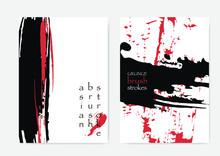 Red Black Cover Template. Black Red White Oriental Brushstrokes. Grunge Poster Design. Japanese Brochure Cover. Asian Cover Template. Asian Brush Strokes.