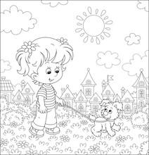 Cheerful Little Girl Walking T...