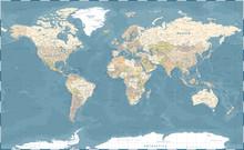World Map Vintage Dark Political - Vector Detailed Illustration - Layers