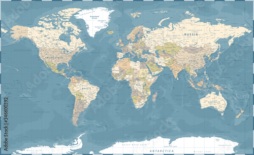 Obraz na plátně World Map Vintage Dark Political - Vector Detailed Illustration - Layers