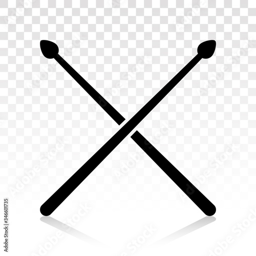 Cuadros en Lienzo Drumsticks or drum stick flat icon for snare drum percussion with transparent ba