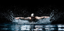 Man Is Swimming Breaststroke. ...