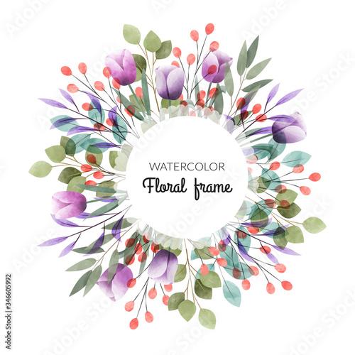 Watercolor floral frame. Multipurpose background. Fototapeta