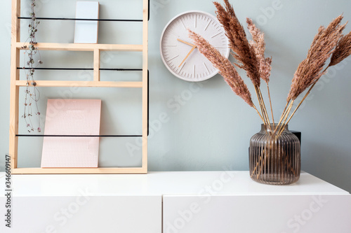 Retro modern decoration wall in the living room with pastel colors, white clock Fototapete