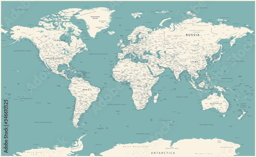 Obraz na plátně World Map Vintage Political - Vector Detailed Illustration - Layers