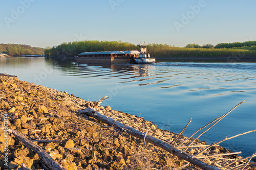 Towboat pushes river barge in south saint paul Canvas Print