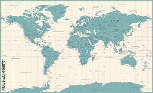 Fotografie, Obraz World Map Vintage Political - Vector Detailed Illustration - Layers