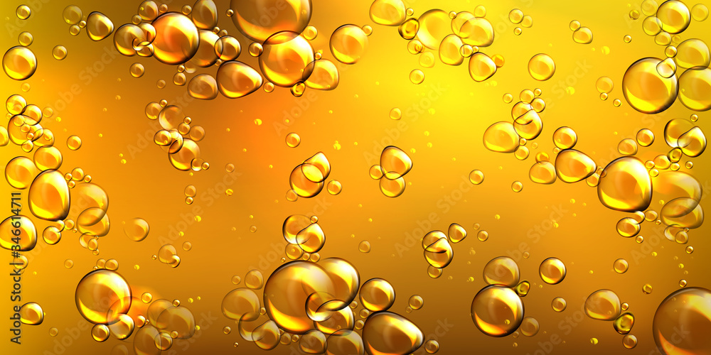 Fototapeta Yellow oil with air bubbles. Vector realistic underwater background of liquid argan, jojoba, castor or fish oil with glossy drops. Golden pattern of flowing bubbles in orange honey
