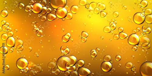 Fototapeta Yellow oil with air bubbles. Vector realistic underwater background of liquid argan, jojoba, castor or fish oil with glossy drops. Golden pattern of flowing bubbles in orange honey obraz