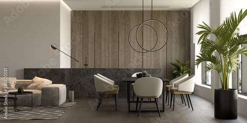 Cuadros en Lienzo Minimalist Interior of modern living room 3D rendering