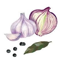 Garlic, Half Onion, Bay Leaf, ...
