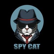 Spy Cat Head Vector Illustration