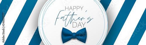 Obraz Happy Father's Day banner or header. Blue stripes and tie bow. Vector illustration. - fototapety do salonu
