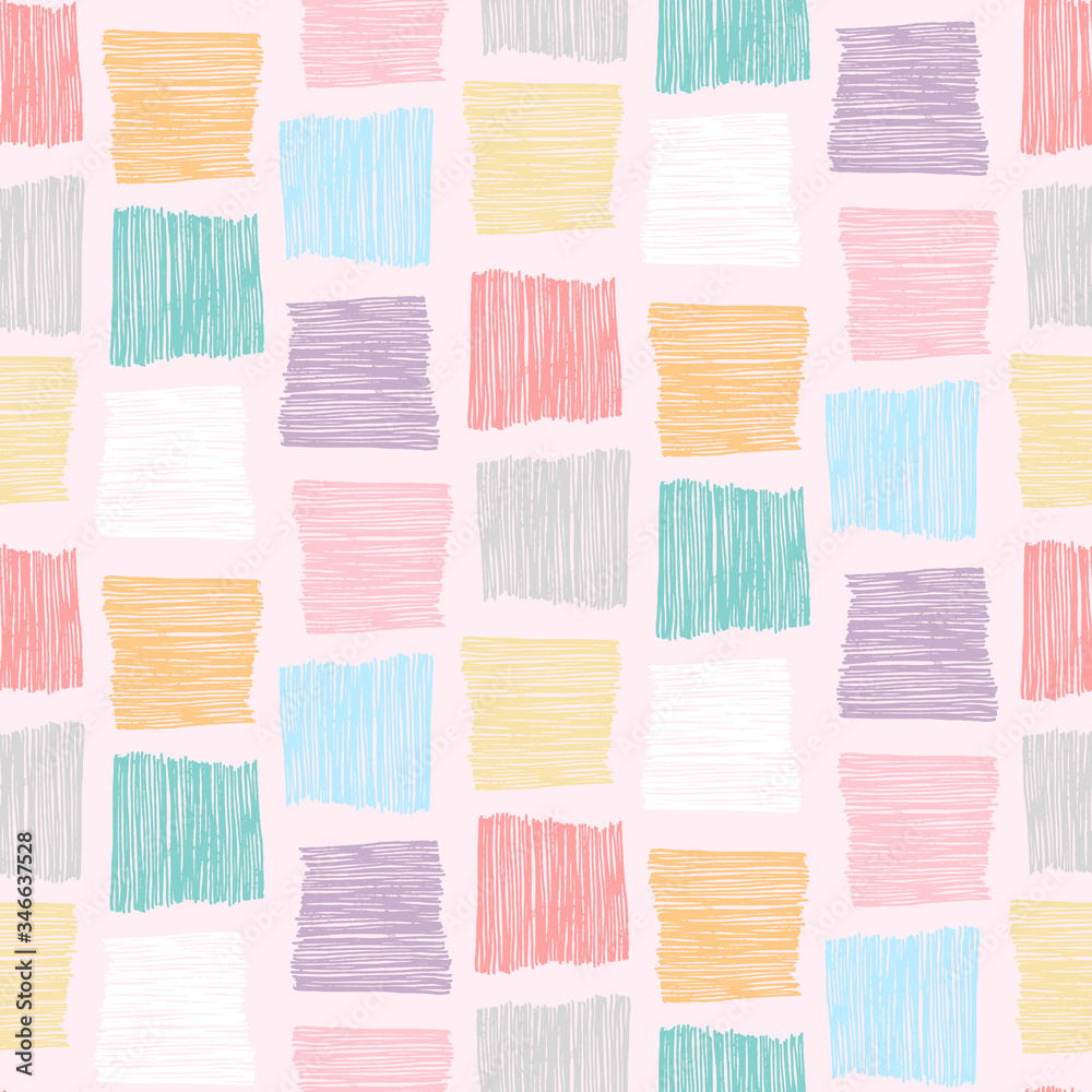 Cute abstract vector colorful textured hand drawn scribble square shape seamless pattern. Modern pastel colors texture for kids textile design, wrapping paper, surface, wallpaper, background