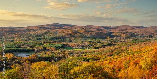 Autumn view from Golden Eagle Restaurant hairpin overlook on the Mohawk Trail - Berkshire Massachusetts #346640330