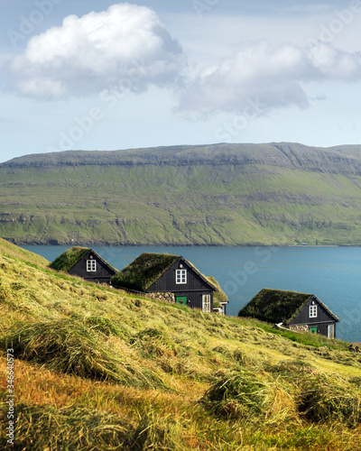 Fototapeta Picturesque view of tradicional faroese grass-covered houses in the village Bour during autumn