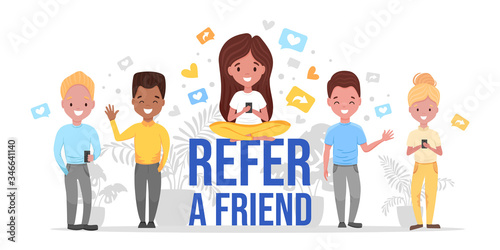 Social media referral program concept with multinational characters and elements, message, heart, smartphones Fototapeta