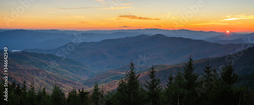 Autumn sunset at the Smoky Mountain national Park Clingmans Dome Fototapet
