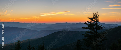 Papel de parede Autumn sunset at the Smoky Mountain national Park Clingmans Dome