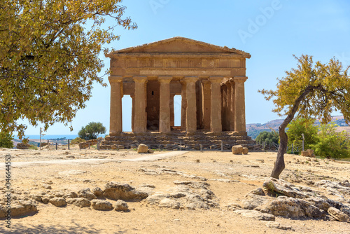Temple of Concordia in the Valley of the Temples in Agrigento Canvas Print