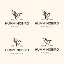 Set Monoline Hipster Hummingbi...